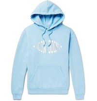 Noon Goons Logo Print Garment Dyed Loopback Cotton Jersey Hoodie Sky Blue