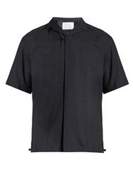 Kolor Short Sleeved Wool Shirt Navy