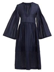Zeus Dione Astypalaia Cotton And Silk Blend Midi Dress Navy