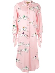 Escada Silk Printed Shirt Dress Pink
