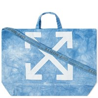Off White End. X Chemical Wash Canvas Tote Bag Blue