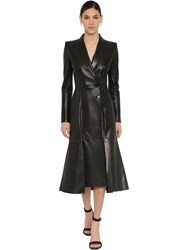 Alexander Mcqueen Flared Nappa Leather Trench Coat Black