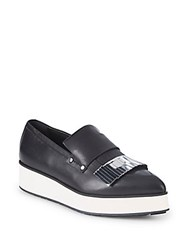 Mcq By Alexander Mcqueen Metallic Leather Platform Loafers Black Silver