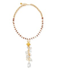 Devon Leigh Moonstone And Pearl Cluster Necklace Gold