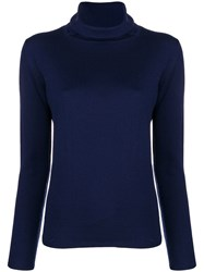 Aspesi Fine Knit Turtleneck Sweater Blue