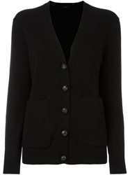 Joseph V Neck Button Down Cardigan Black