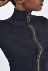 Boutique Zip Front Track Jumper By Navy Blue