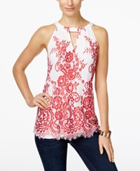 Inc International Concepts Lace Halter Blouse Only At Macy's Bright White Red