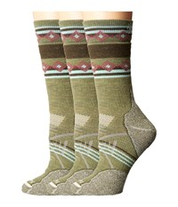Smartwool Phd Outdoor Medium Pattern Crew 3 Pair Pack Light Loden Women's Crew Cut Socks Shoes Olive