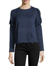 Collective Concepts Balloon Sleeve Cropped Sweatshirt Navy