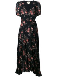 Denim And Supply Ralph Lauren Floral Wrap Dress Black