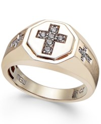 Macy's Men's Diamond Cross Ring 1 5 Ct. T.W. In 10K Gold White
