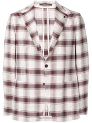 Tagliatore Checked Blazer Red