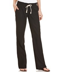 Roxy Juniors' Oceanside Wide Leg Drawstring Pants Black