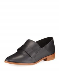 Neiman Marcus Smooth Leather Slip On Loafer Black
