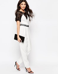 Paper Dolls Jumpsuit With Lace Sleeves White