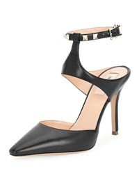 Valentino Rockstud Leather Ankle Strap Pump Black