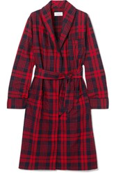 Three J Nyc Holiday Checked Cotton Flannel Robe Red