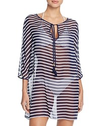 Tommy Bahama Brenton Tie Front Stripe Tunic Swim Cover Up Blue