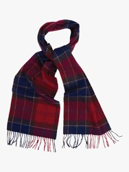 Barbour Holden Tartan Lambswool Cashmere Scarf Red