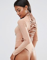 Club L High Neck Bodysuit With Lace Up Back Macaroon Caramel Beige