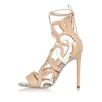 River Island Womens Nude Lace Up Caged Heels