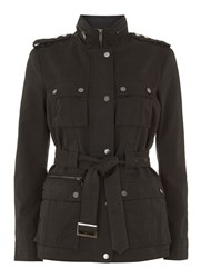 Mint Velvet Black Belted Jacket Black