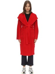 Tagliatore Daisy Hooded Alpaca And Wool Coat Red