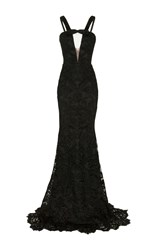 Alex Perry Rowan Lace Sheer Front Strap Gown Green
