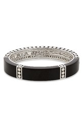 John Hardy Women's Dot Oval Hinge Bangle Silver Ebony Wood