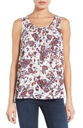 Women's Pleione Embroidered Inset Scoop Neck Sleeveless Blouse