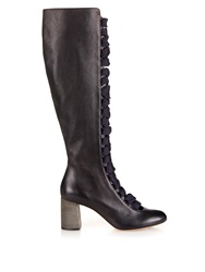 Chloe Lace Up Front Leather Knee Boots