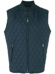 Brioni Quilted Zip Up Gilet Silk Cotton Calf Leather Wool Xxxxl Blue