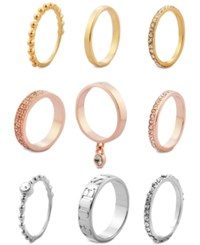 Guess Tri Tone 9 Pc. Set Crystal Stacker Rings Silver