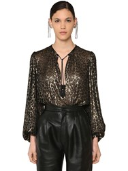 Saint Laurent Leopard Silk And Viscose Devore Shirt Black