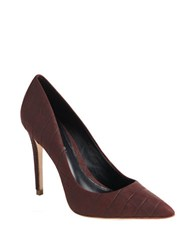 Elie Tahari Adele Croc Effect Leather Pumps Red