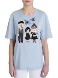 Dolce And Gabbana Embroidered Jersey Tee Sky Blue