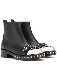 Alexander Mcqueen Hobnail Leather Ankle Boots Black
