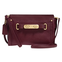 Coach Swagger Leather Wristlet Burgundy