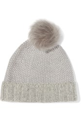 Iris And Ink Shearling Trimmed Merino Wool Beanie Gray