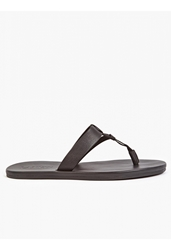 Lanvin Men's Black Leather Flip Flops