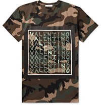 Valentino Logo And Camouflage Print Cotton Jersey T Shirt Army Green