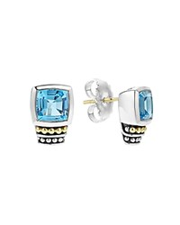 Lagos 18K Gold And Sterling Silver Glacier Stud Earrings With Swiss Blue Topaz Blue Silver