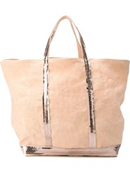 Vanessa Bruno Sequin Trim Shopping Tote Pink And Purple
