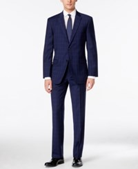 Tommy Hilfiger Men's Bright Blue Plaid Stretch Performance Slim Fit Suit