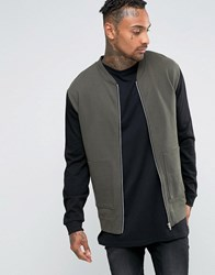 Asos Jersey Bomber Jacket With Zip Pockets And Contrast Sleeves Forest Nights Green