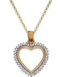 Victoria Townsend Diamond Heart Pendant Necklace In Sterling Silver Or 18K Gold Over Sterling Silver 1 4 Ct. T.W.