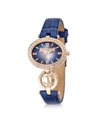 Just Cavalli Just Icon Rose Gold Steel W Blue Croco Embossed Leather Women's Watch