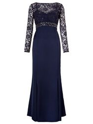 Ariella Sloane Maxi Dress With Lace Sleeves Navy