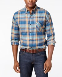 Weatherproof Vintage Men's Big And Tall Plaid Flannel Shirt Blue